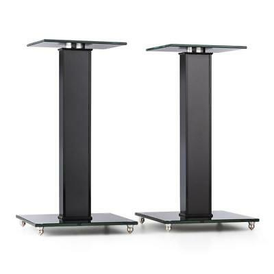 Auna  New -Bk Speaker Stands Aluminium Glass Mdf Cable Duct Incl. Spikes