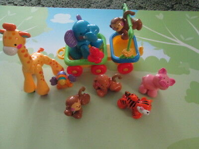 FISHER PRICE Lot Amazing Click Clack Zoo Animals & part  of train