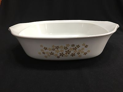 "Libbey Vintage 8"" Skillet/Casserole White with Brown Flowers No Lid"