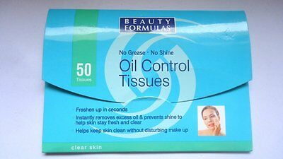 X12 BEAUTY FORMULAS OIL CONTROL Face TISSUES WIPES Shine Remover oily 50 per pk