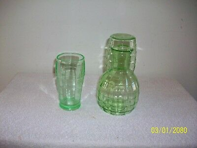 Depression Era Block Optic Pattern Green Glass Juice Jug Glass Top & Tumbler