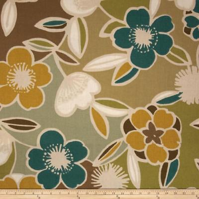 TURNLEY TEAL Richloom Cotton Duck Floral Print Dec Fabric Teal Brown Taupe Cream