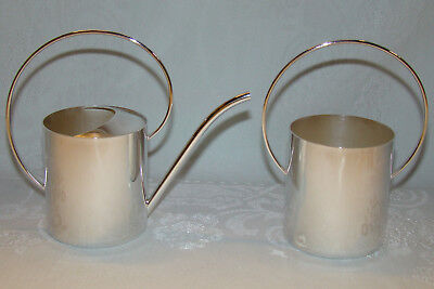 DENMARK Silverplate Watering Can Style Sugar and Creamer Mid Century Vintage