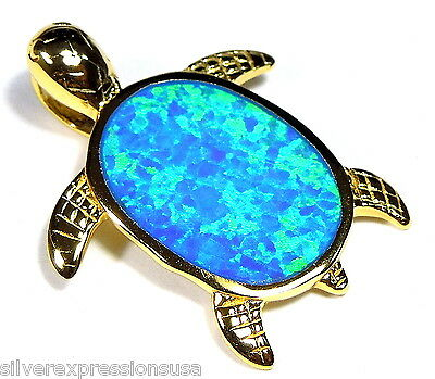 18kt Yellow Gold Plated Over Sterling Silver Turtle Pendant w/ Blue Fire Opal