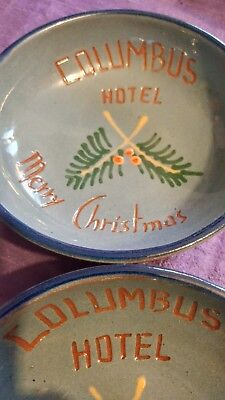 Vintage Columbus Hotel Merry Christmas Promo Gift Bowls Set of 2! Beautiful Blue