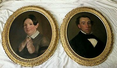 "Pair of Fine Antique 19th C.Victorian Oil on Canvas Portraits ""Husband and Wife"""