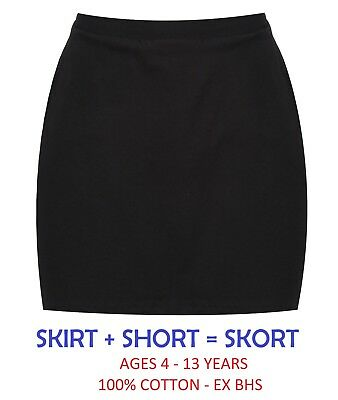 Ex Bhs Girls School Skirt + Short (Skort) Black Navy 4-13 Years