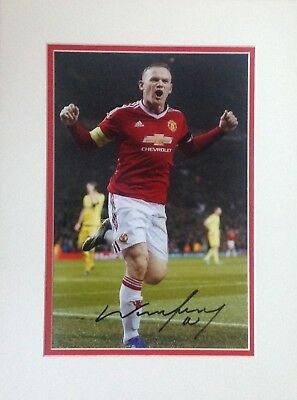 Wayne Rooney Authentic Signed Mounted Manchester Utd Photo Aftal#198