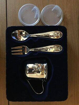 New Princess House Silverplate Baby Feeding Set w/cup, 2 seals, fork and spoon