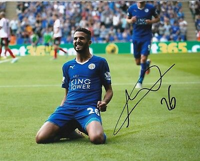 Riyad Mahrex Authentic Signed Leicester City 10X8 Photo Aftal#198