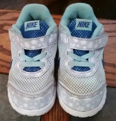 NIKE Toddler Girl's Size 8C Athletic Sneakers Blue and White Shoes