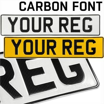 3D CARBON pressed number plates metal embossed car registration GB UK Road Legal