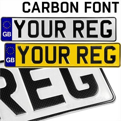 CARBON font GB euro pressed number plates metal embossed Car Reg UK Road Legal