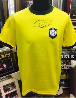 Pele Authentic Signed Brazil Football Shirt Aftal#198