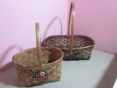 Christmas Basket Lot 2 Woven Reed Tall Handled Red Green Gold Decorated Lg & Med