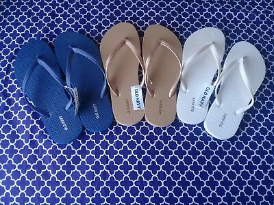 Womens Old Navy Flip Flop Sizes 9 lot of 3 navy blue-gold-white