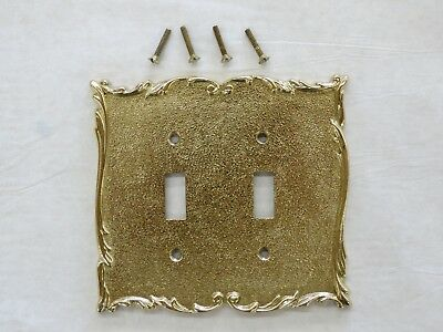 Vintage Solid  Brass Broadway Supply Co.Textured Polished Double Switch  Plate