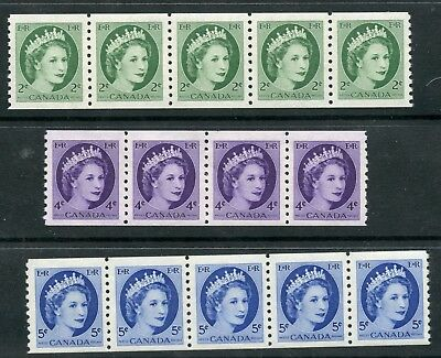 Weeda Canada 345-348 VF MNH set of coil strips of 4-5, QEII Wilding issue CV$26+