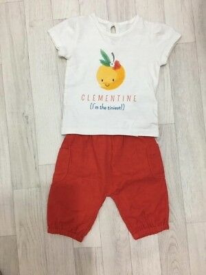 M&S Baby Girls 2 Piece Outfit Trousers T-Shirt 0-3 Months Holiday Summer BNWT