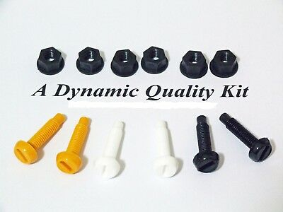 6 Pcs Yellow Black White Plastic Nylon Screw & Nut Number Plate Fittings Fixings