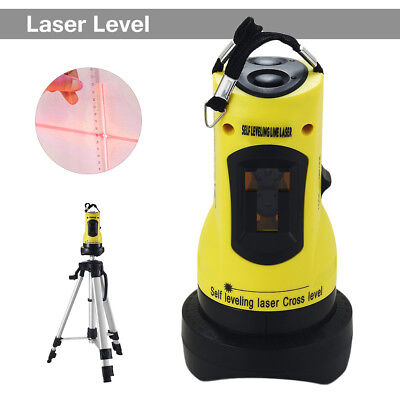 360° Self-leveling Cross Laser Level Red 2 Line 1 Point W/ Adjustable Tripod HW