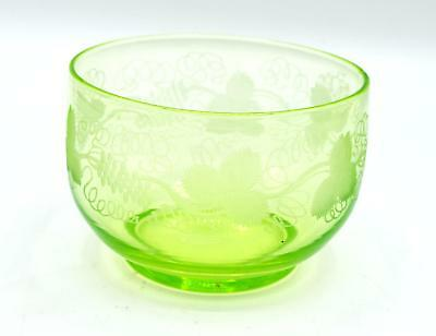 Vintage Green Depression/Uranium Glass Bowl - Etched Grapes & Leaves