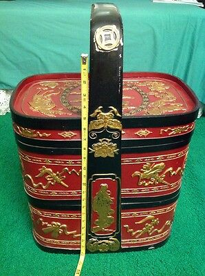Tier Huge ANTIQUES CHINESE WEDDING BASKETS Red