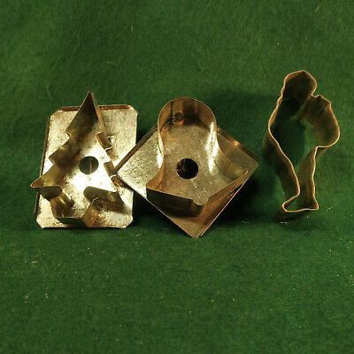 Old Tin Christmas Cookie Cutters Standing Santa, Church Bell, Christmas Tree