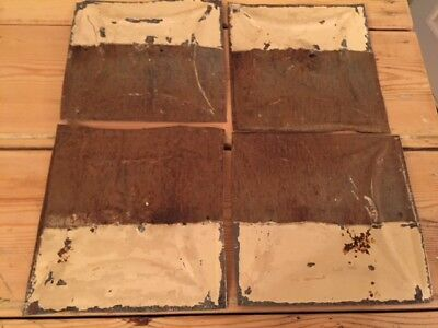 """4 Antique 6"""" x 6""""  Salvaged Victorian Tin Ceiling Tiles from house in New York"""