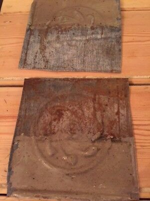 """2 Antique 6"""" x 6""""  Salvaged Victorian Tin Ceiling Tiles from house in New York"""