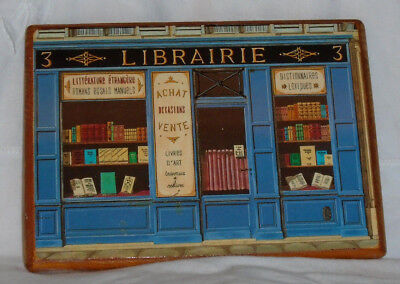 Vintage Paris Postcard Wood Plaque Provence Wall Art Librarie Book Store Library
