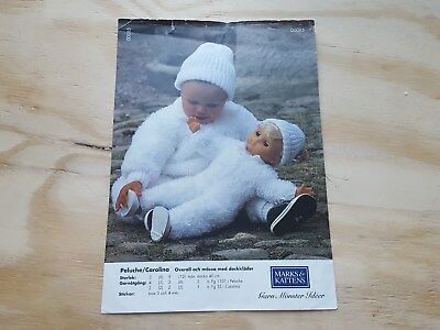RARE KNITTING PATTERN: BABY JUMP SUIT AND HAT BY MARKS & KATTENS  3-12 mths/doll