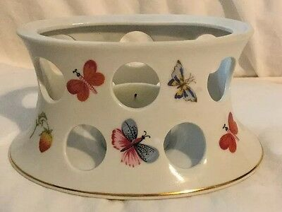 Lenwile China Hand Painted Ardalt Japan Butterflies Votive Candle Holder Gold