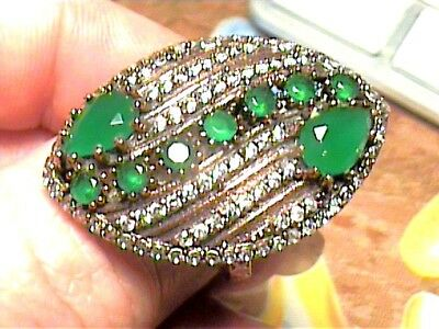Vintage Antique  Emerald Silver Ring 8.5 Medieval Natural Sapphire Sterling 925