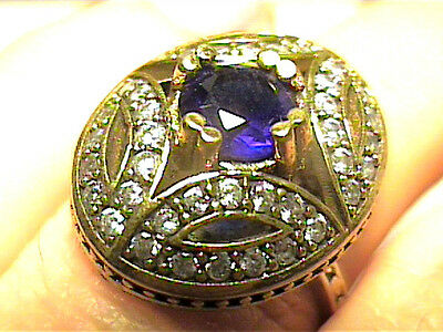 VINTAGE ANTIQUE  SILVER RING 8  MEDIEVAL blue royal SAPPHIRE STERLING 925 NICE