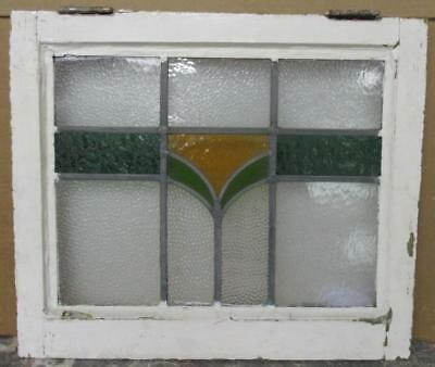 """OLD ENGLISH LEADED STAINED GLASS WINDOW Cute Abstract 21"""" x 18"""""""