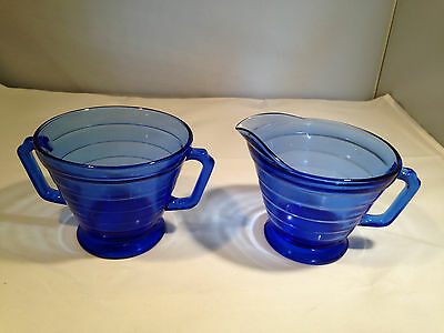Depression Glass - Moderntone Creamer and Sugar with no lid (in Cobalt)