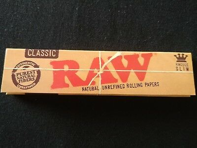1 x Raw Classic King Size Slim Rolling Papers Natural Unrefined Organic 110mm