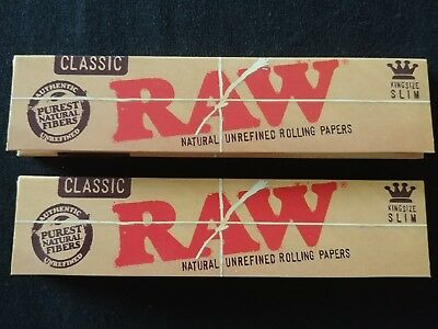 2 x Raw Classic King Size Slim Rolling Papers Natural Unrefined Organic 110mm