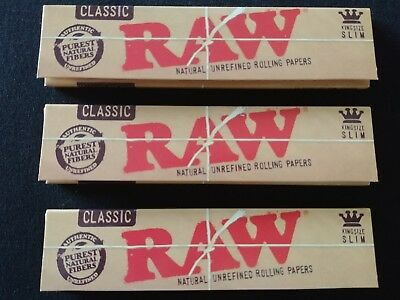 3 x Raw Classic King Size Slim Rolling Papers Natural Unrefined Organic 110mm