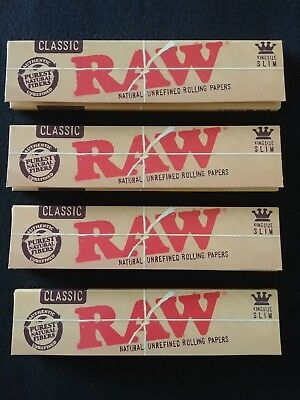 4 x Raw Classic King Size Slim Rolling Papers Natural Unrefined Organic 110mm