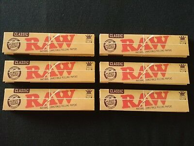 6 x Raw Classic King Size Slim Rolling Papers Natural Unrefined Organic 110mm