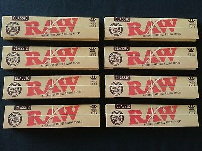 8 x Raw Classic King Size Slim Rolling Papers Natural Unrefined Organic 110mm
