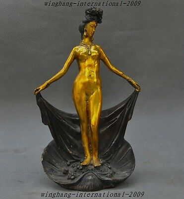 """10"""" Old Chinese Bronze Gild Ancient Belle Woman beauty Royal Bathing Art Statue"""