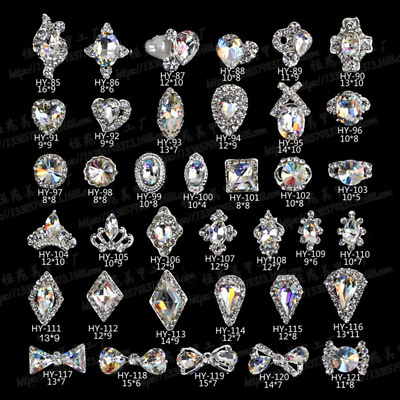 1/5pc 3D Nail Art Jewelry Alloy Deco Crystal Rhinestones Glitter Tips Decoration