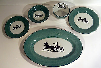 5 Piece Shenango Green Restaurant Ware Horse Buggy Silhouette
