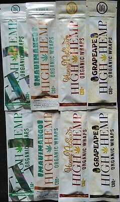 8 x High Hemp Wraps Organic Vegan Original Maui Mango Honey Pot Swirl Grape Ape
