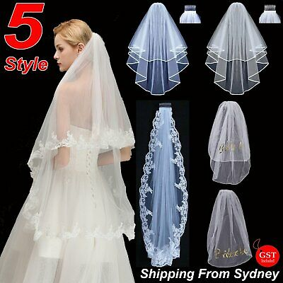 One/Two-tier 90/150/300cm Long Lace White Elbow Length Edge Wedding Bridal Veil