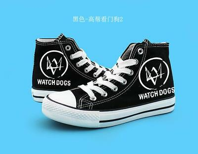 Fashion Watch Dog2 Hand Painted Canvas Shoes High Help Colored Drawing Casual