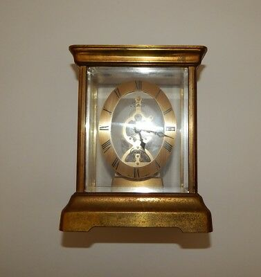 Vintage Kundo Brass & Glass Anniversary Mantle Clock West Germany Working R17030